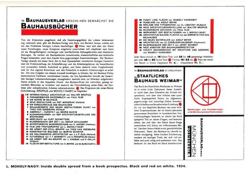 라슬로 모호이-너지가 바우하우스 출판물을 위해 디자인한 타이포그래피와 편집 디자인. 바우하우스 아카이브.