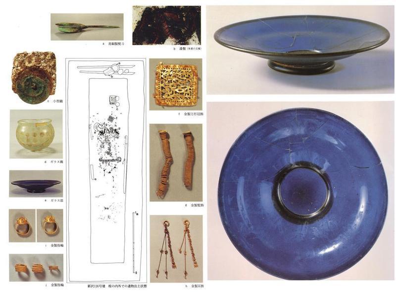 신라계 귀족이 묻힌 일본 나라현 니자와센즈카 126호분에서 출토된 유물들. 신라의 금제품과 로마와 페르시아의 유리 제품(오른쪽)들. 박천수 경북대 교수 제공