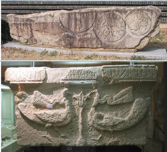 나무 한 그루를 가운데 두고 양쪽에 새 한 쌍을 배치한 문양은 페르시아에서 유래했다. 위는 경주박물관 안압지관 앞에 있는 석조물, 아래는 아제르바이잔 바쿠 국립박물관에 있는 석조물이다. 권오영 교수 제공