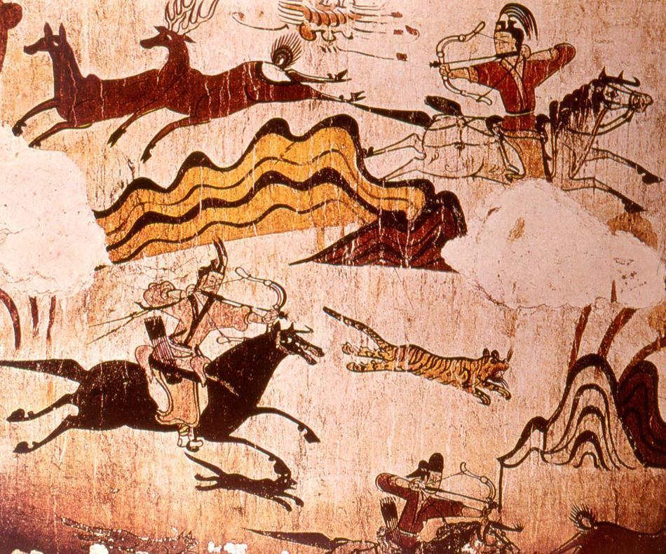 말을 타고 몸을 비틀어 활을 쏘는 이른바 '파르티안 샷'이 그려진 고구려 고분 무용총의 벽화. 파르티안 샷은 페르시아 계통의 파르티아에서 전래된 활쏘기 방법이다. 권오영 교수 제공