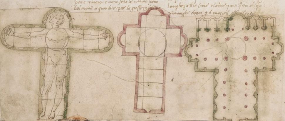 그림1. 프란체스코 디 조르조 마르티니, <건축론> 삽화, 미국 예일대 도서관 소장.