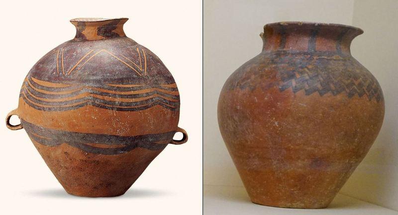 앙소문화 채색무늬 토기(왼쪽)과 터키 아나톨리아 지역의 채색무늬 토기(오른쪽)는 유라시아 전역에서 발견되는 보편성에도 불구하고 100년 전 중국의 서방전래설의 근거로 사용되었다. 강인욱 제공