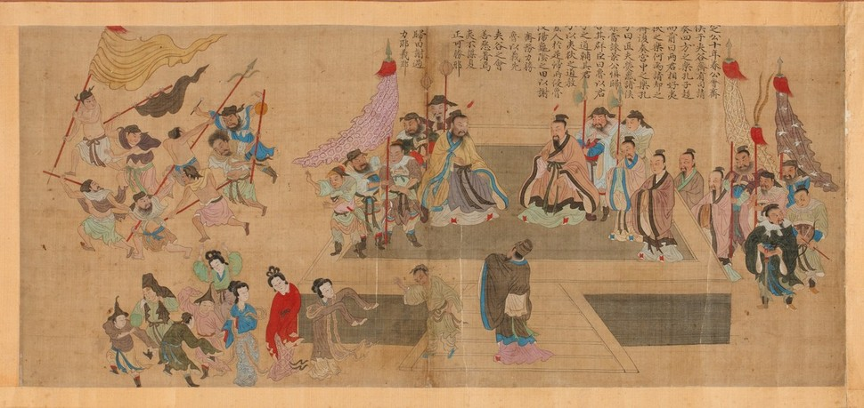 조선시대 화가 김진여가 그린 <'협곡회제' 공자성적도>(1700년, 비단에 색, 32×57㎝). 국립중앙박물관 소장