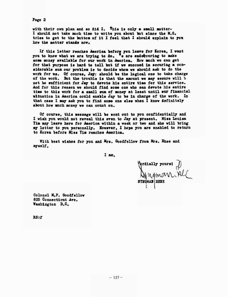 이승만이 굿펠로에게 보낸 편지의 뒷장. 국사편찬위원회 소장