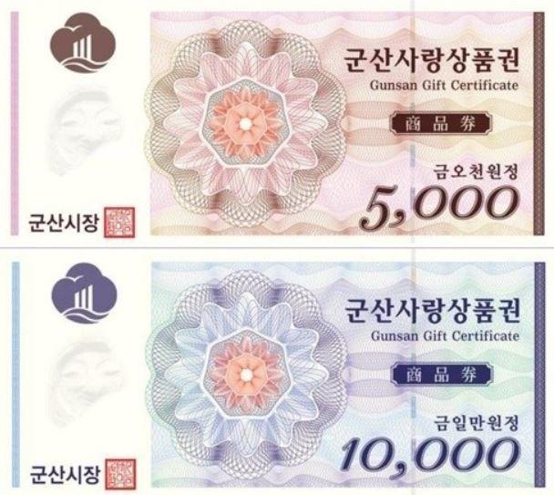 군산의 지역화폐인 군산사랑상품권. 군산시 제공
