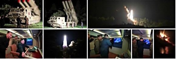북한이 지난 2일 김정은 국무위원장 지도 아래 신형 대구경 조종 방사포 시험사격을 했다고 <조선중앙텔레비전>이 3일 관련 사진과 함께 보도했다. 연합뉴스