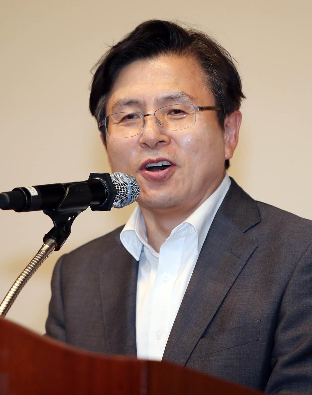 자유한국당 황교안 대표가 지난 6일 경북 구미시 컨벤션센터 구미코에서 열린 당원 교육에서 인사말을 하고 있다. 연합뉴스