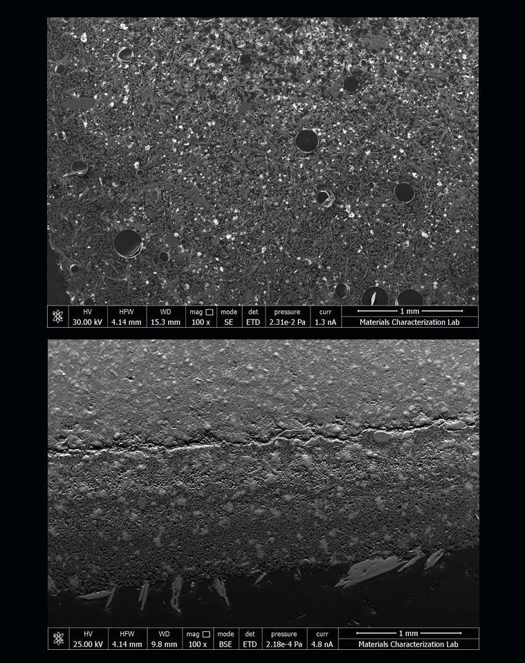 우주에서 만든 시멘트 반죽(위)과 지상에서 만든 시멘트 반죽(아래). 우주 시멘트반죽에 구멍이 많이 보인다. 나사 제공