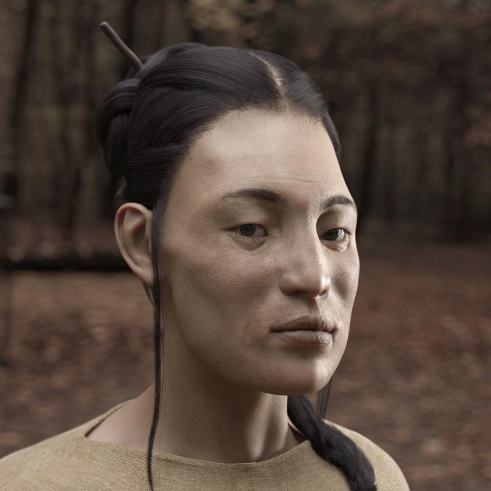 최근 스위스 뒬리에서 발견된 서기 5세기께 무덤에서 편두를 한 몽골인 계통 여인의 유골이 발굴됐다. 이를 바탕으로 복원한 생전의 모습.  강인욱 제공