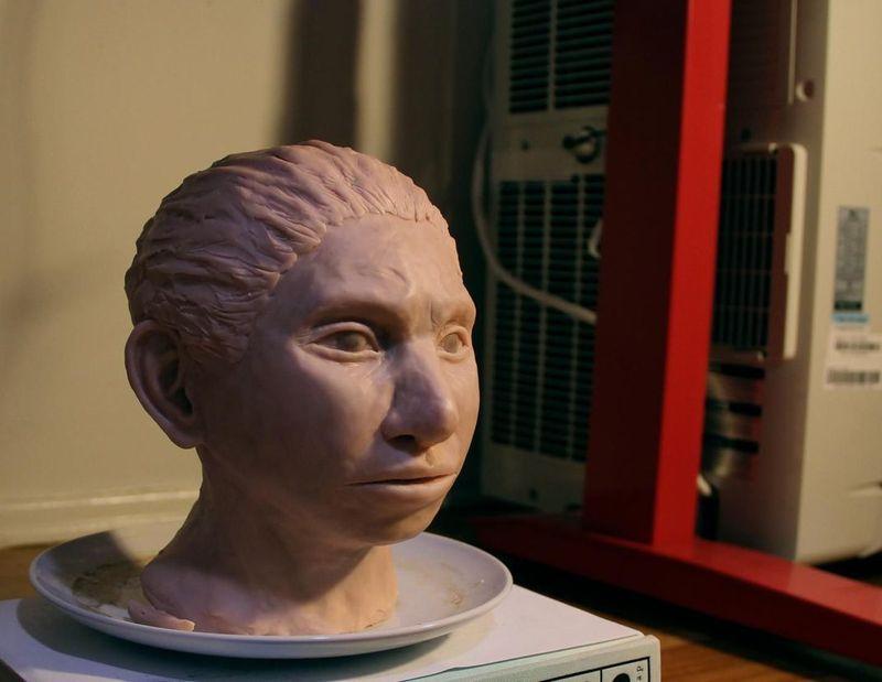 디엔에이 정보 분석을 토대로 복원한 데니소바인 소녀 얼굴 조각상. 스미소니언 매거진서 인용.