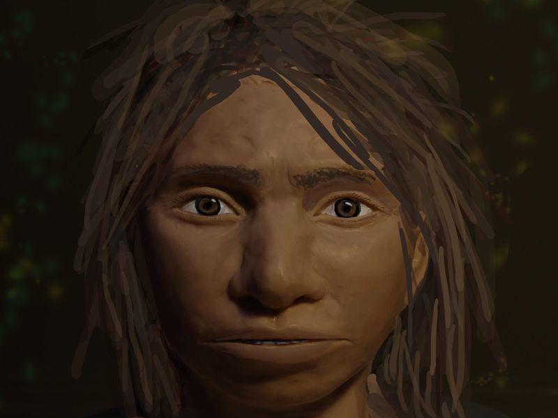 디엔에이 정보를 토대로 복원한 데니소바인 소녀 초상화. 스미소니언 매거진서 인용.