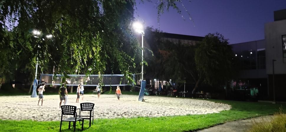마운틴뷰 구글 캠퍼스에서 저녁 무렵 직원들이 불을 켜 놓고 배구를 하고 있다. 이곳 구글 본사의 모든 전기는 재생에너지로 조달된다.