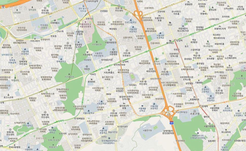 서울 서초역 인근 지도. 카카오맵 갈무리.