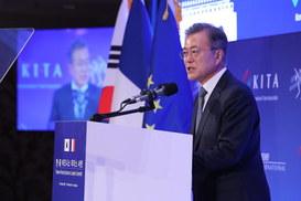 """문 대통령 """"한반도 평화 정착되면 한국 더 좋은 투자처 될 것"""""""